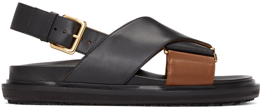 Black & Brown Fussbett Sandals