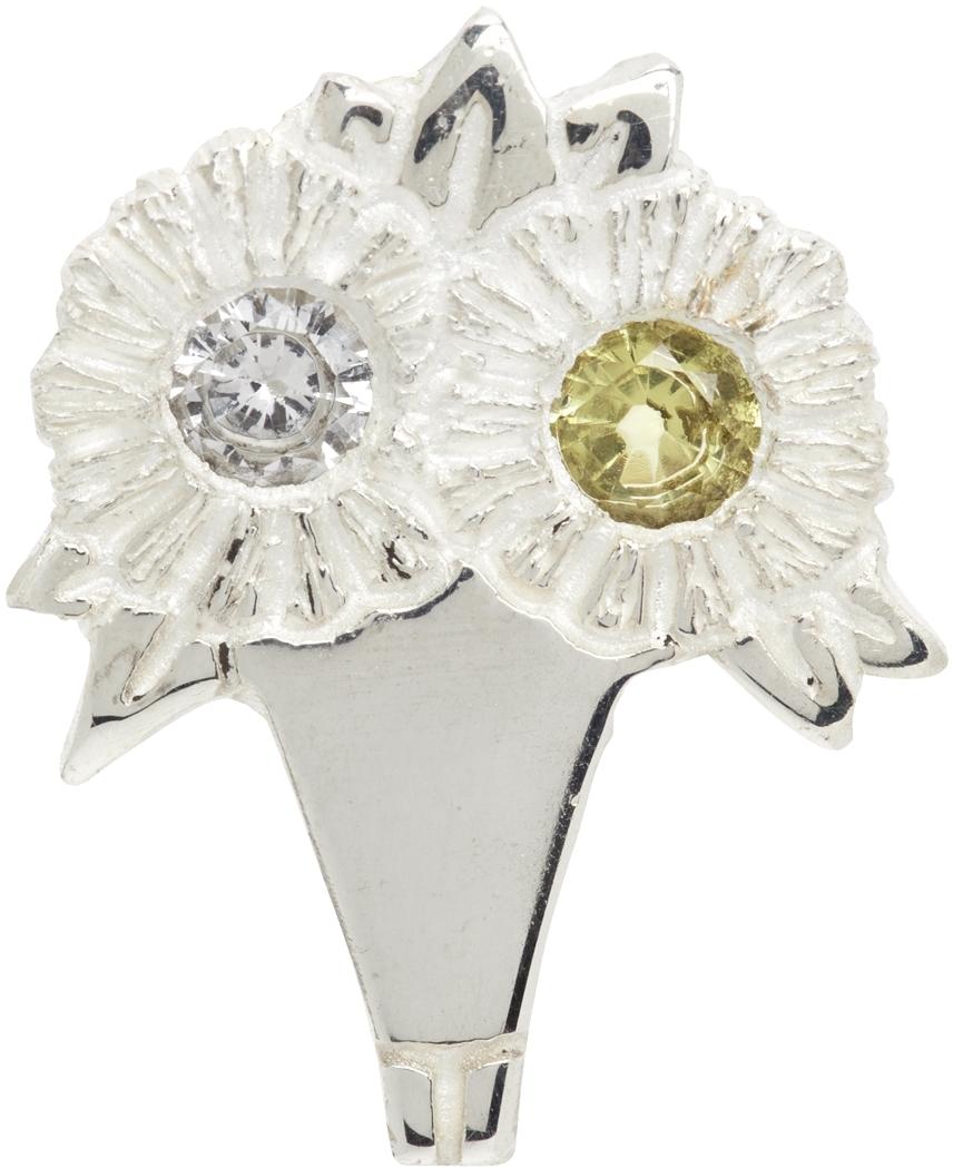 SSENSE Exclusive Silver & Yellow Bouquet Single Earring