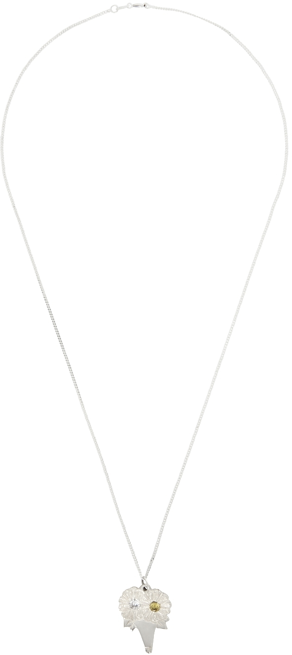 SSENSE Exclusive Silver & Yellow 'The Bouquet Pendant' Necklace