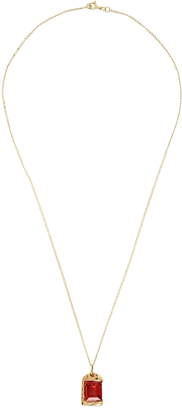 SSENSE Exclusive Gold & Red 'The Rose Pendant' Necklace