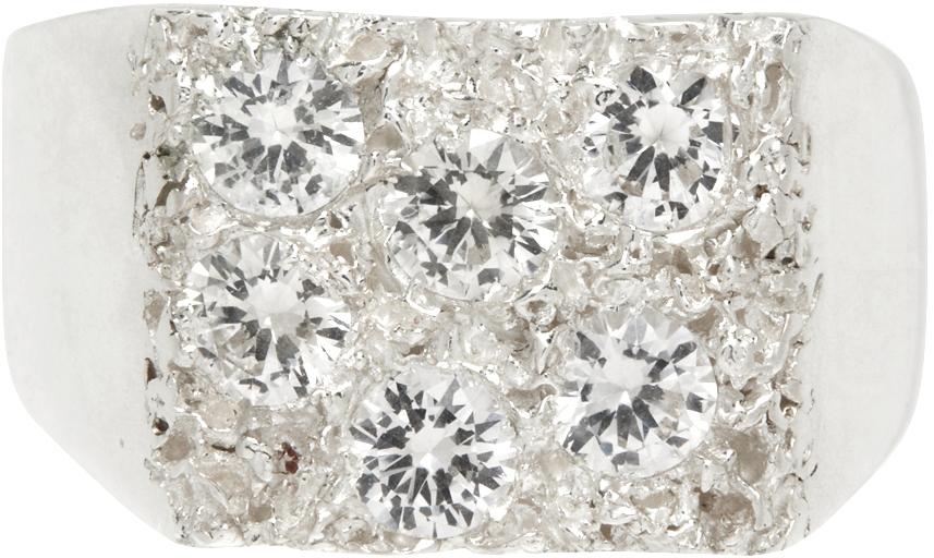 Silver & Clear Garden Signet Ring