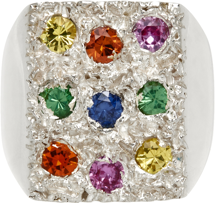 SSENSE Exclusive Multicolor Flower Bed Signet Ring