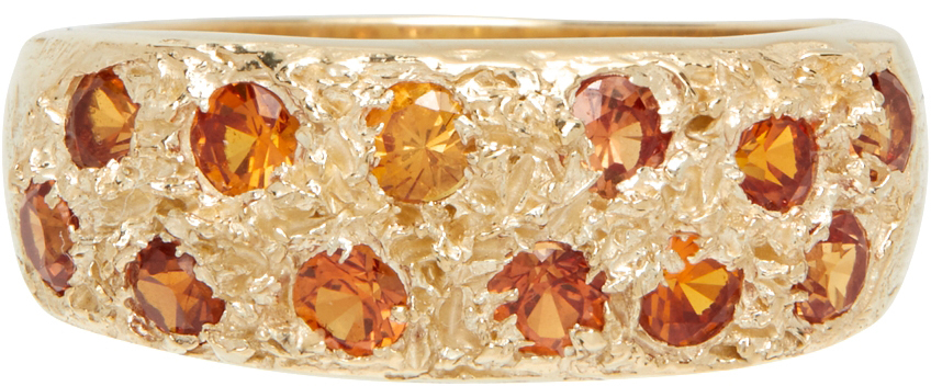 SSENSE Exclusive Gold & Orange Mini Riviera Ring