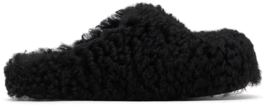 Black Shearling Sabot Clogs