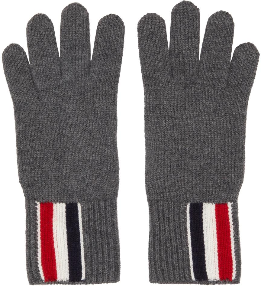 Grey Intarsia Stripe Gloves