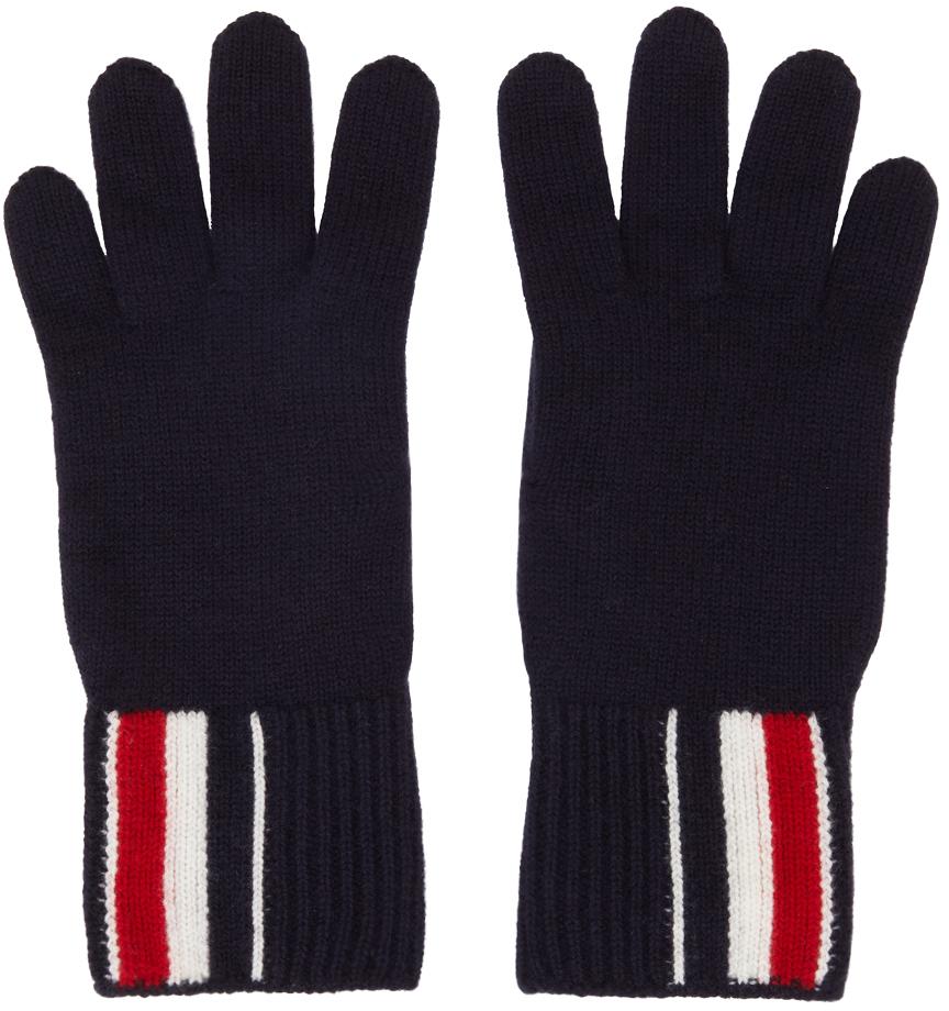 Navy Intarsia Stripe Gloves