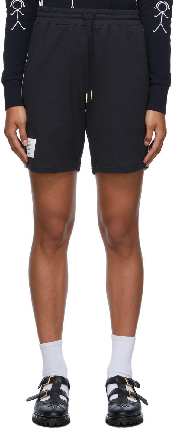 Navy & White Contrast Stripe Shorts