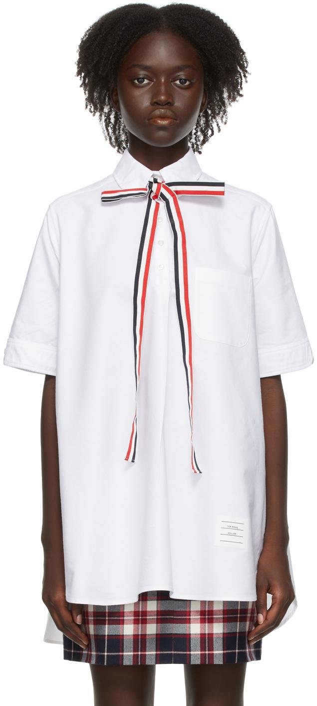 White Bow Tie Short Sleeve Shirt