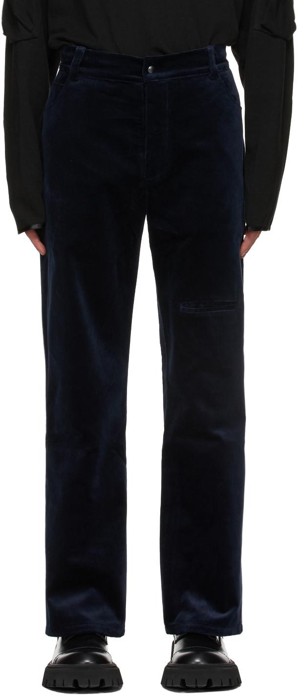 Navy Velvet Straight Trousers