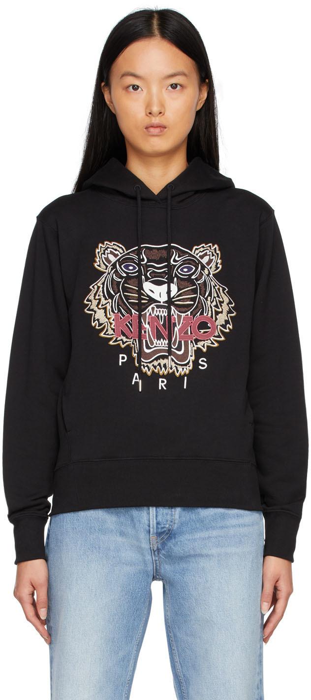 Black Tiger Embroidered Hoodie