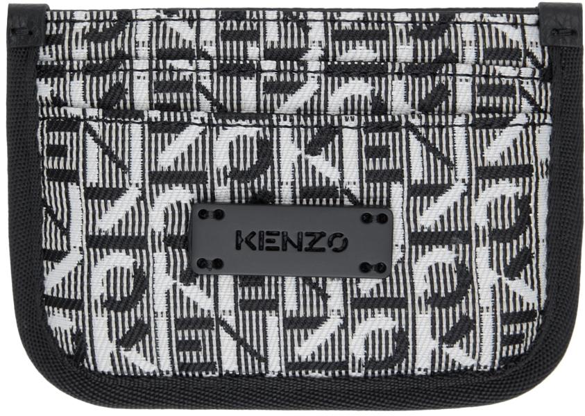 White & Black Jacquard Monogram Courier Card Holder