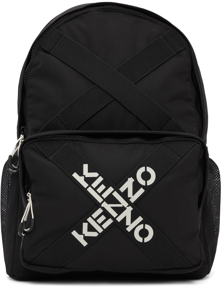 Black Sport Logo Backpack