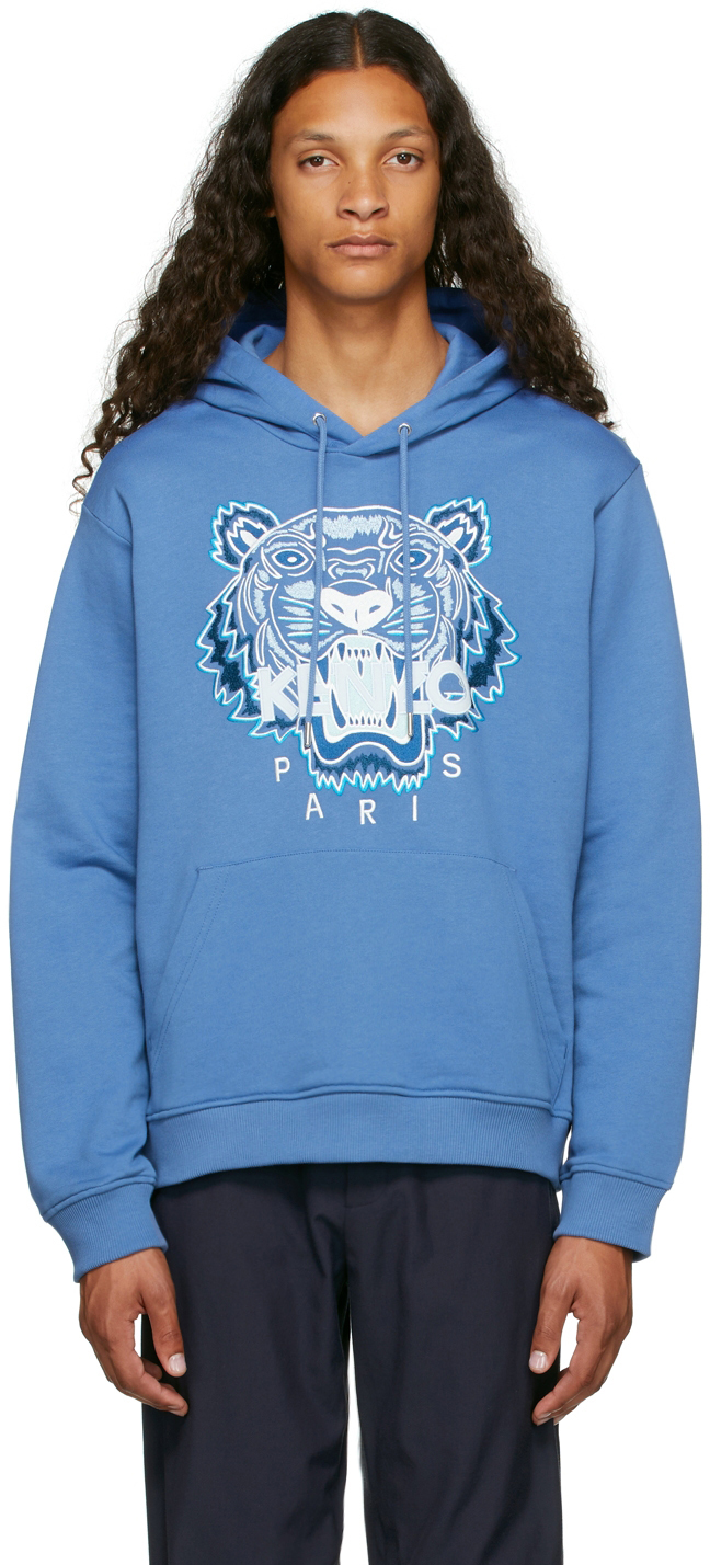 Blue Embroidered Tiger Hoodie