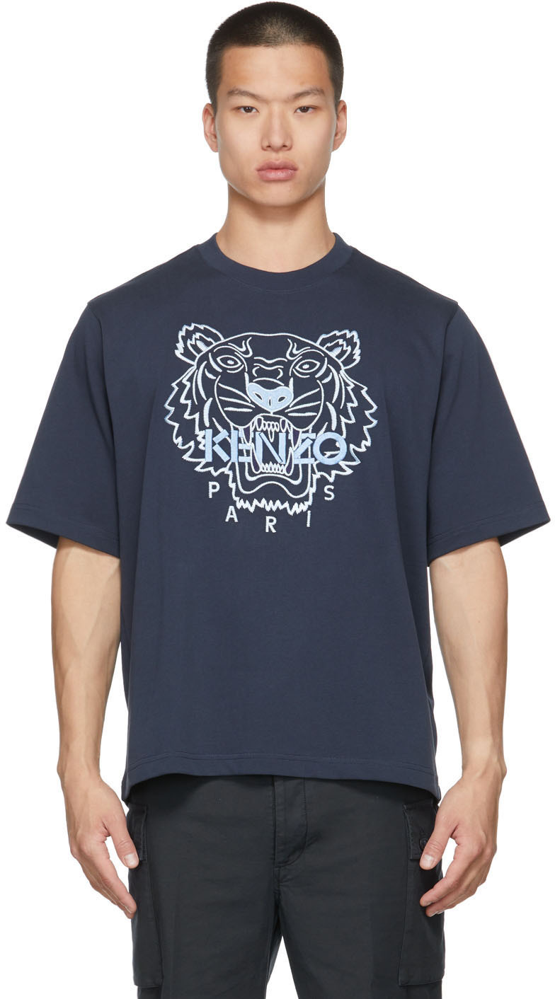 Navy Tiger Embroidered T-Shirt
