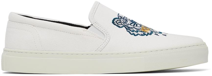 White K-Skate Tiger Slip-On Sneakers