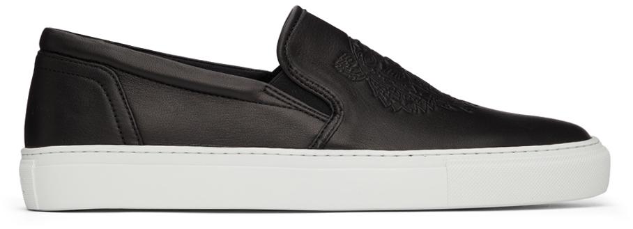 Black K-Skate Leather Slip-On Sneakers