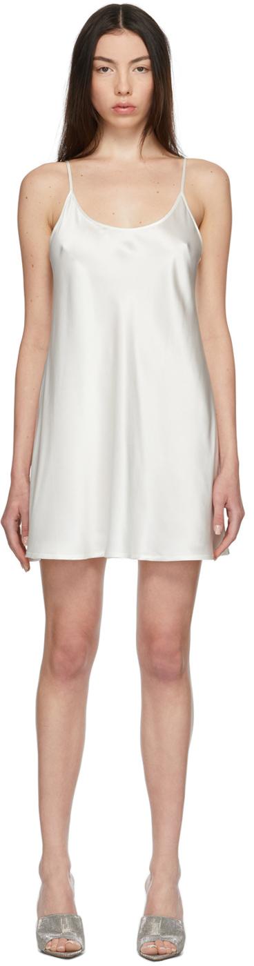 White Silk Short Slip Dress