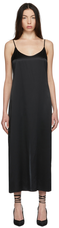 Black Silk Long Slip Dress