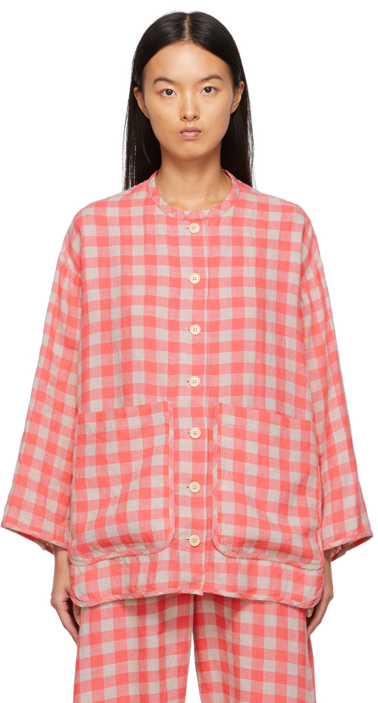 Pink & Beige Linen Check Pipette Jacket