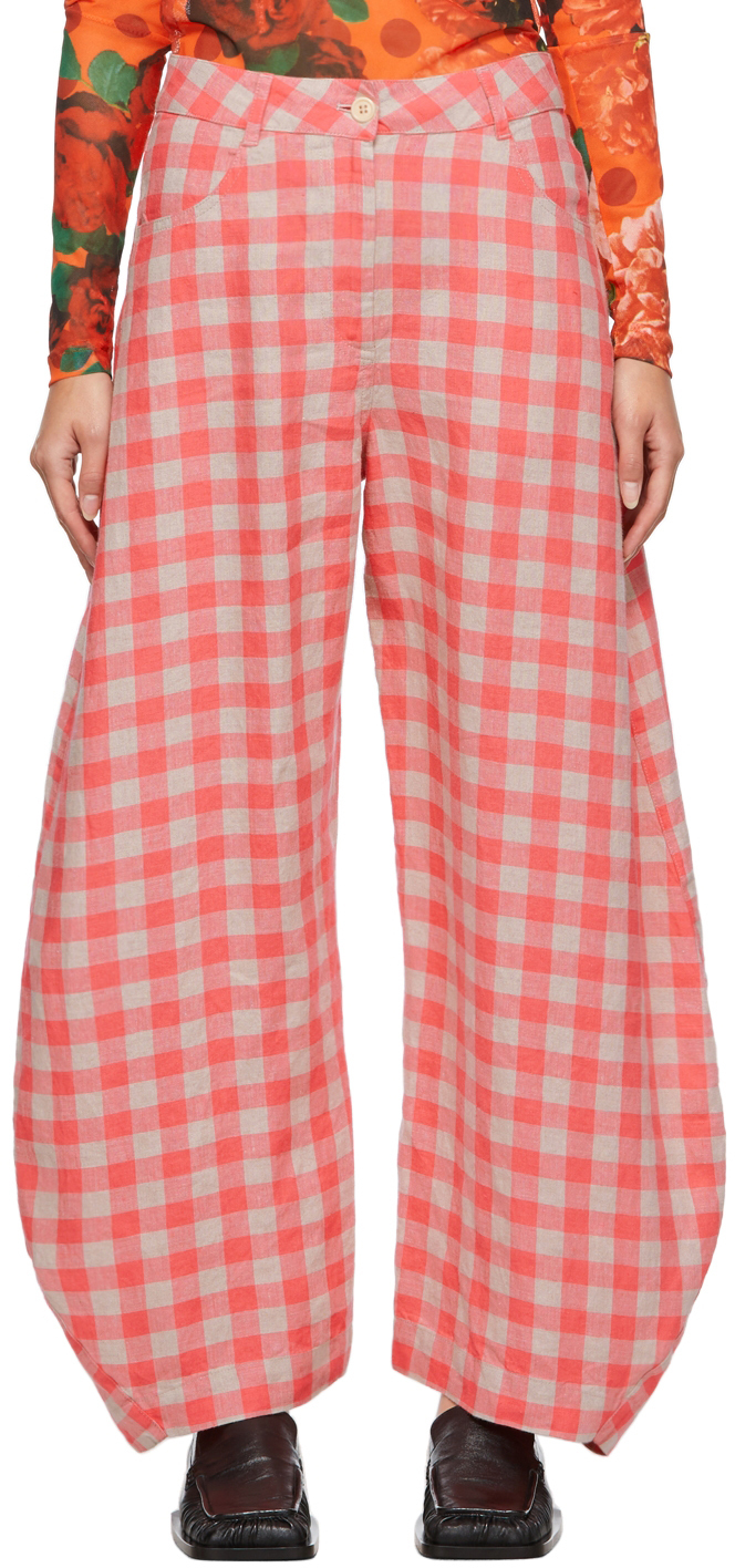 Pink & Beige Linen Check Pipette Trousers