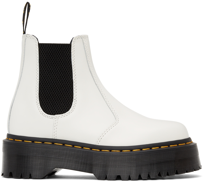 White Quad Platform Chelsea Boots