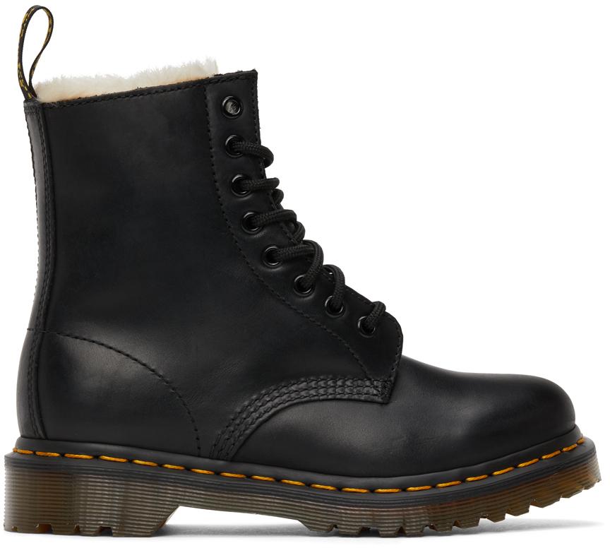 Black Faux-Fur 1460 Serena Boots