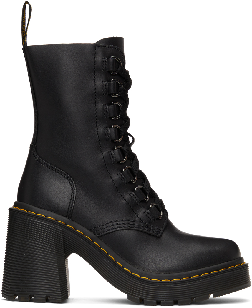 Black Chesney Flared Heel Lace-Up Boots