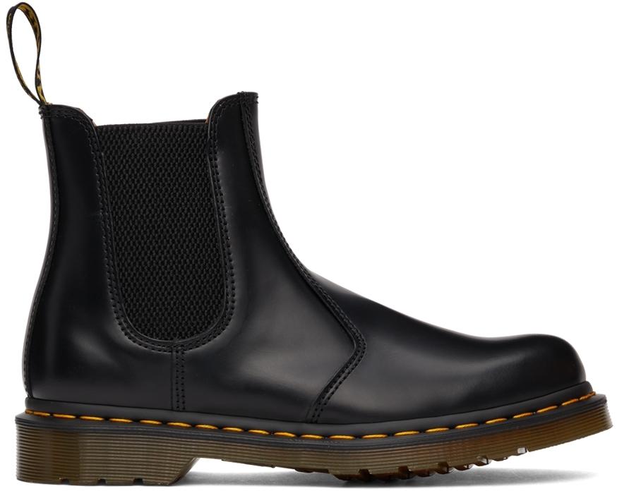 Black 2967 Yellow Stitch Chelsea Boots
