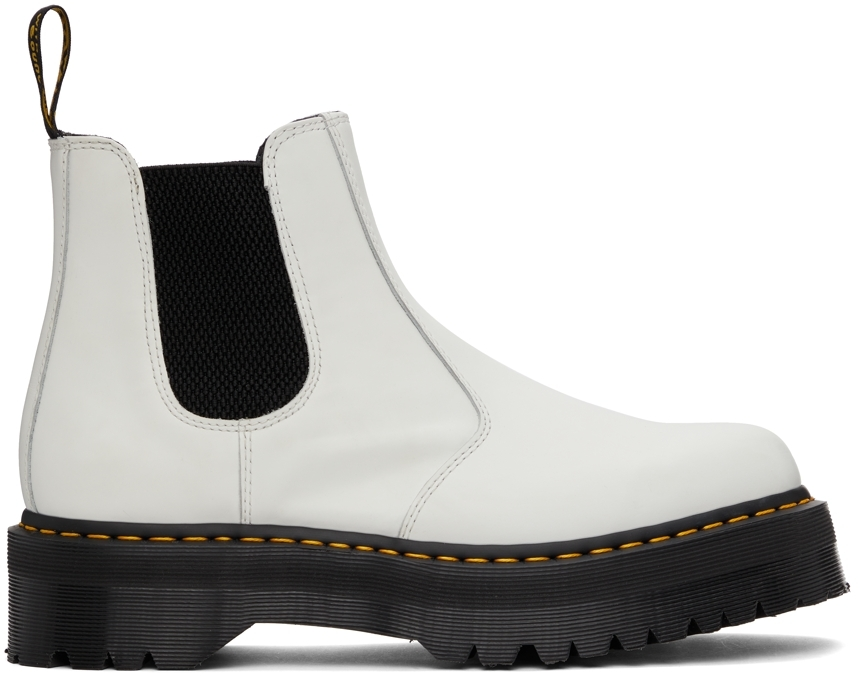 White Smooth 2976 Platform Chelsea Boots