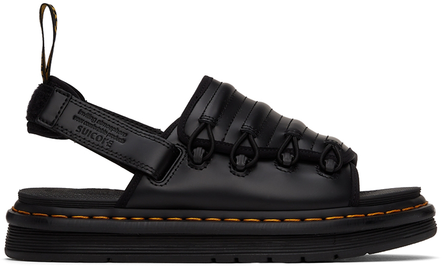 Black Suicoke Edition Smooth Leather Mura Sandals