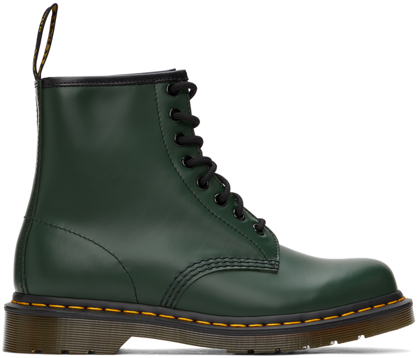 Green Smooth 1460 Boots