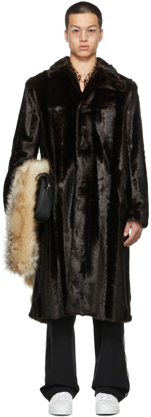 SSENSE Exclusive Faux-Fur Curved Flap Coat