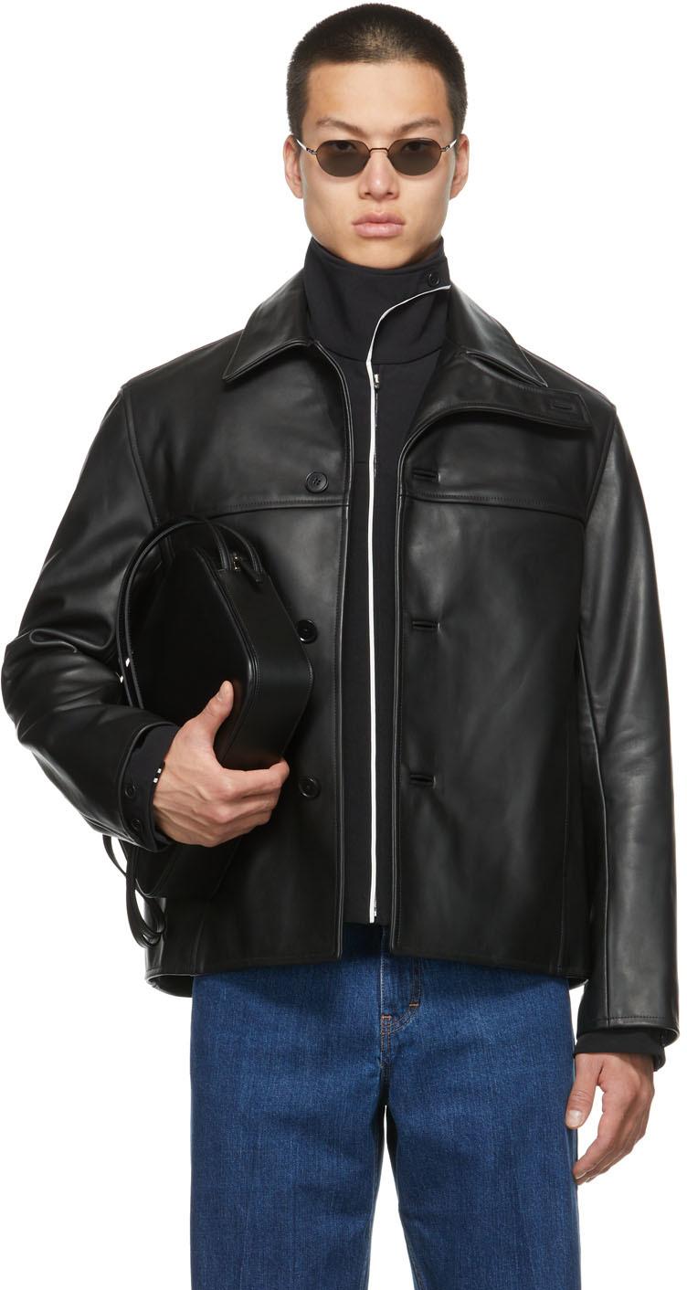 SSENSE Exclusive Calfskin Curved Flap Jacket