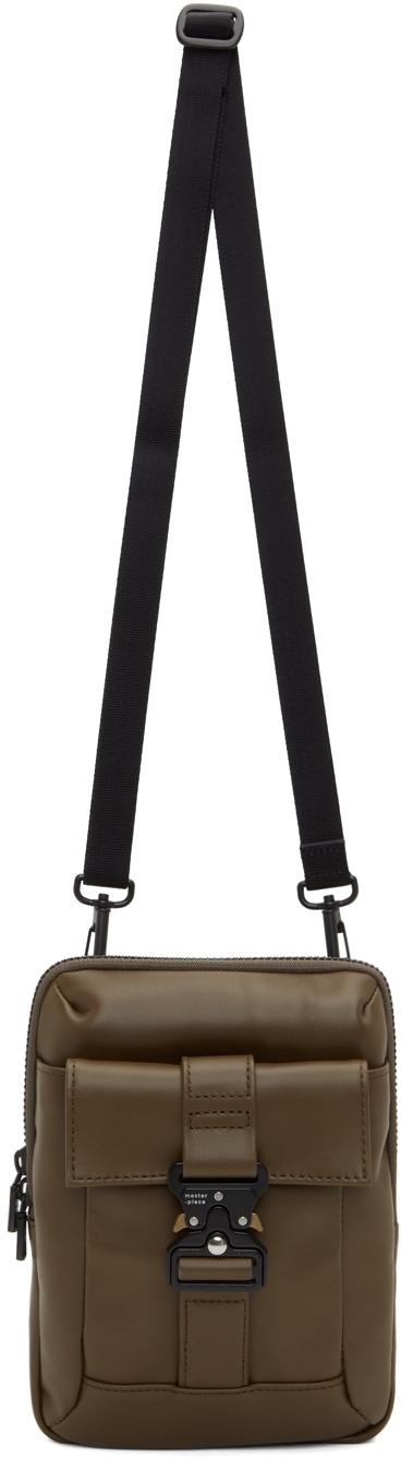 Khaki Leather Confi Messenger Bag