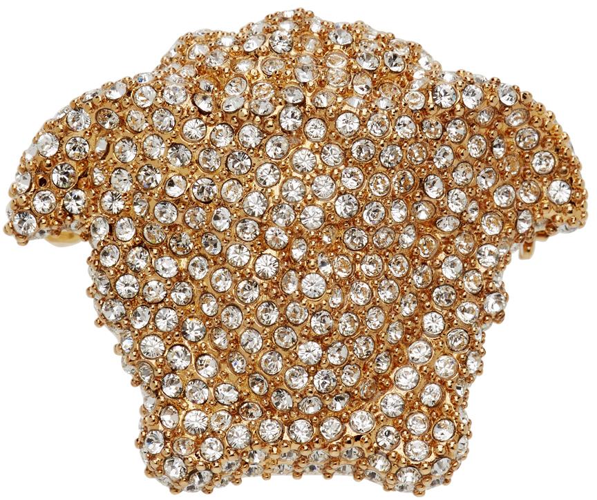 Gold Medusa Head Brooch