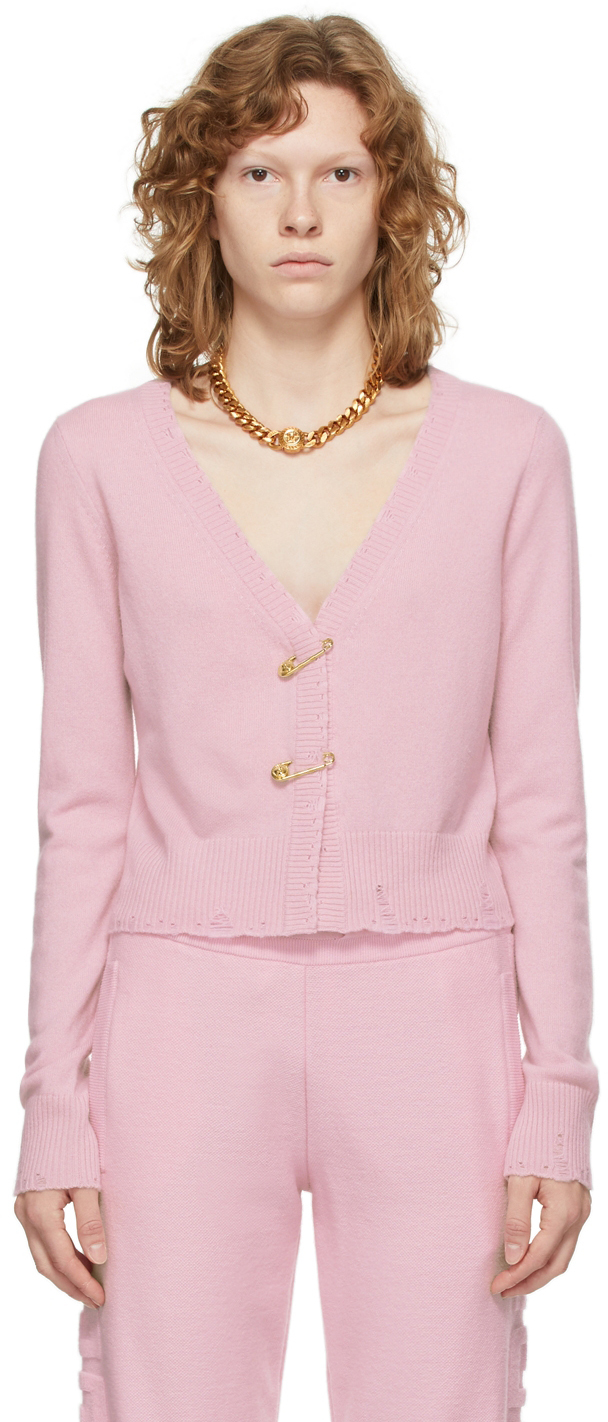 Pink Cashmere Medusa Safety Pin Cropped Cardigan