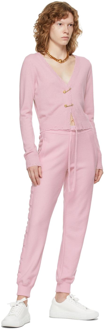 Versace ピンク カシミア Medusa Safety Pin クロップド カーディガン