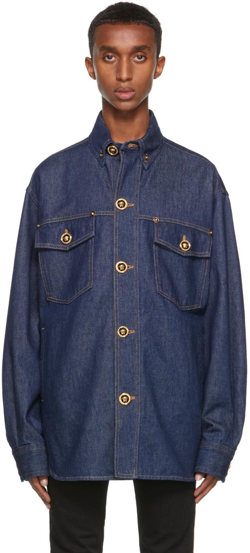 Versace Indigo Denim Medusa Button Shirt
