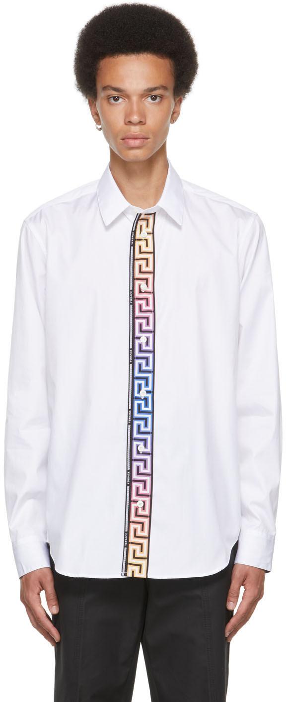 Versace White Cotton Poplin Greca Accent Shirt