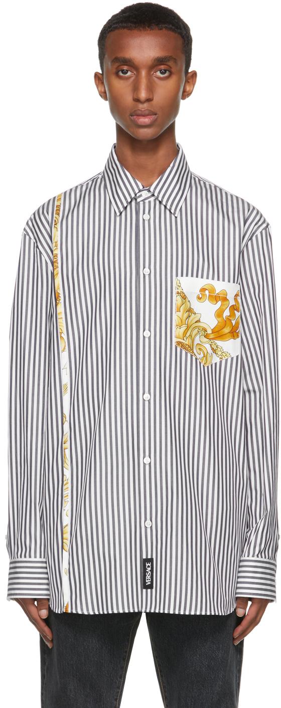 Versace White & Black Medusa Renaissance Accent Shirt