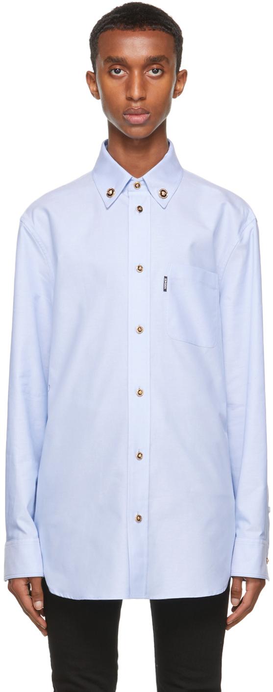 Versace Blue Medusa Button Shirt