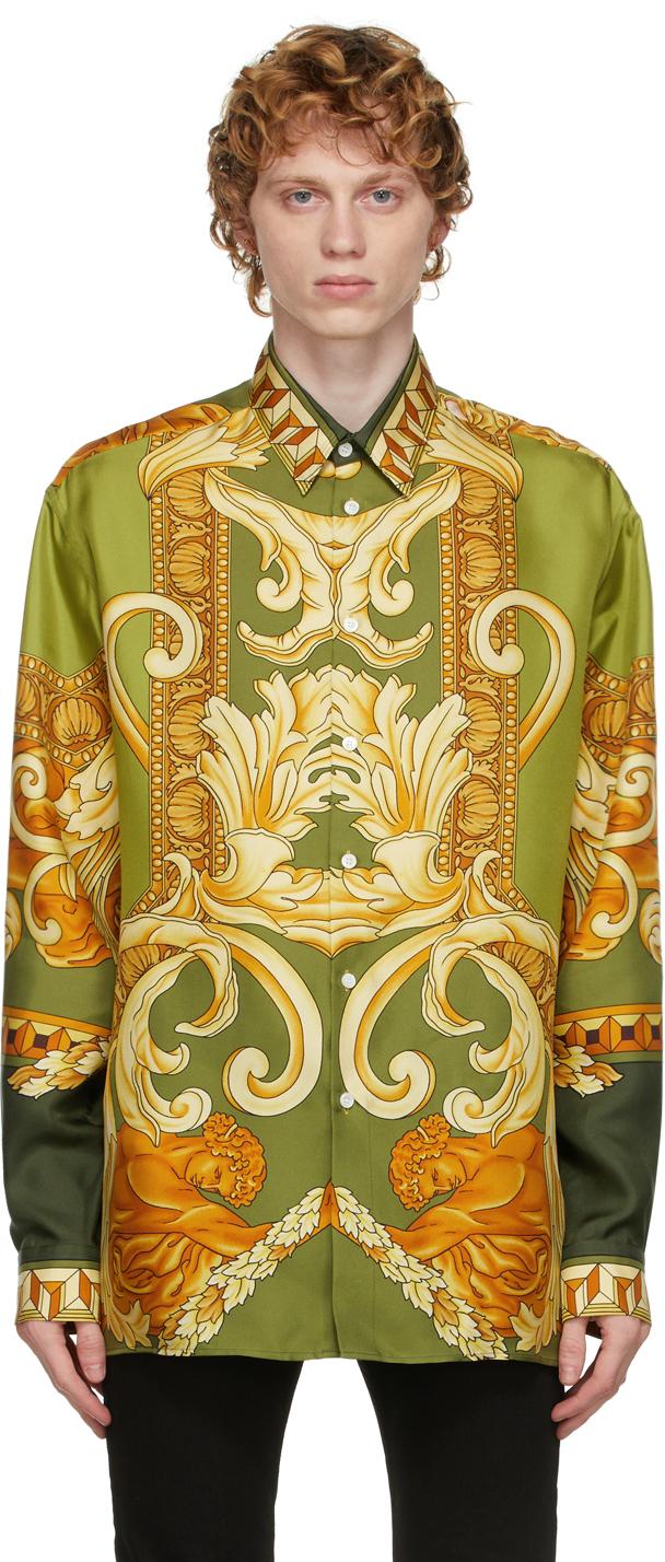 Versace Green Silk Medusa Renaissance Shirt
