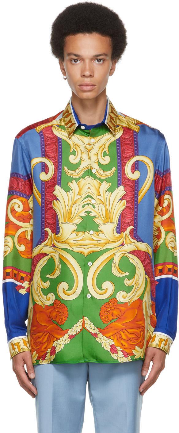 Versace Multicolor Silk Medusa Renaissance Shirt