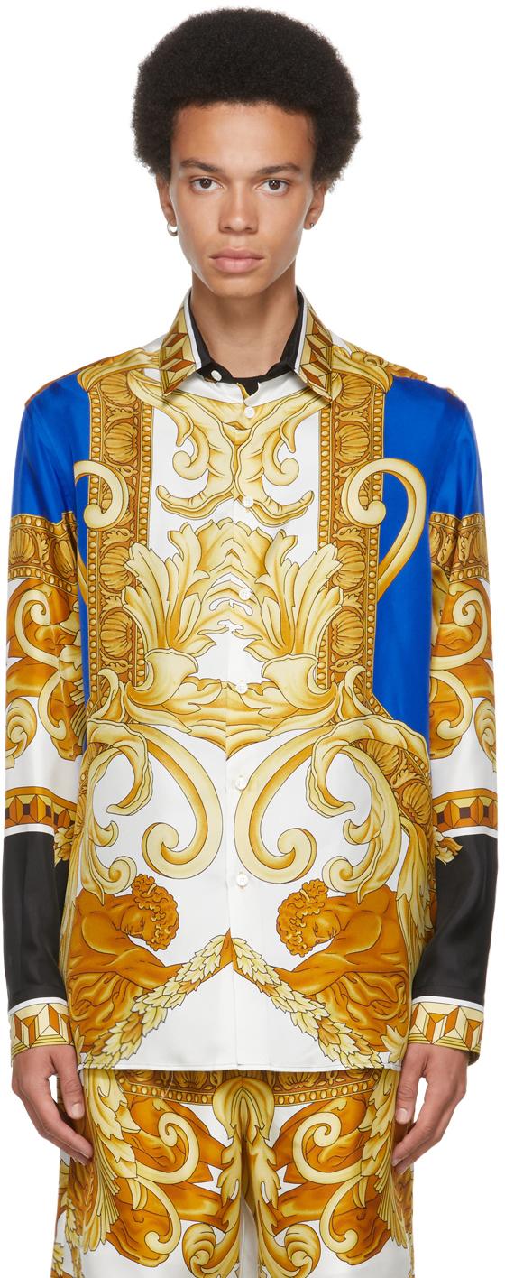 Versace Blue & Gold Silk Medusa Renaissance Shirt