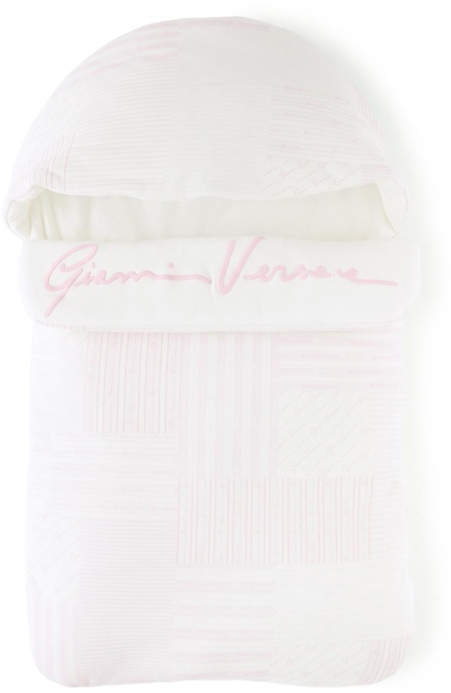 Versace Baby White & Pink Patchwork Print Nest Sleeping Bag