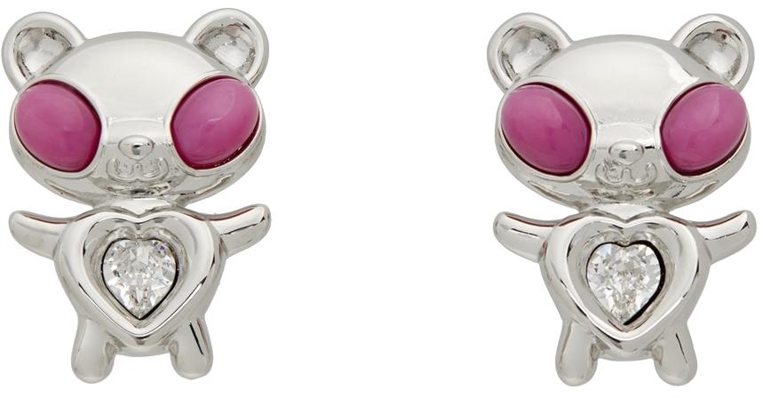 Pink & White Hybrid Bear Earrings