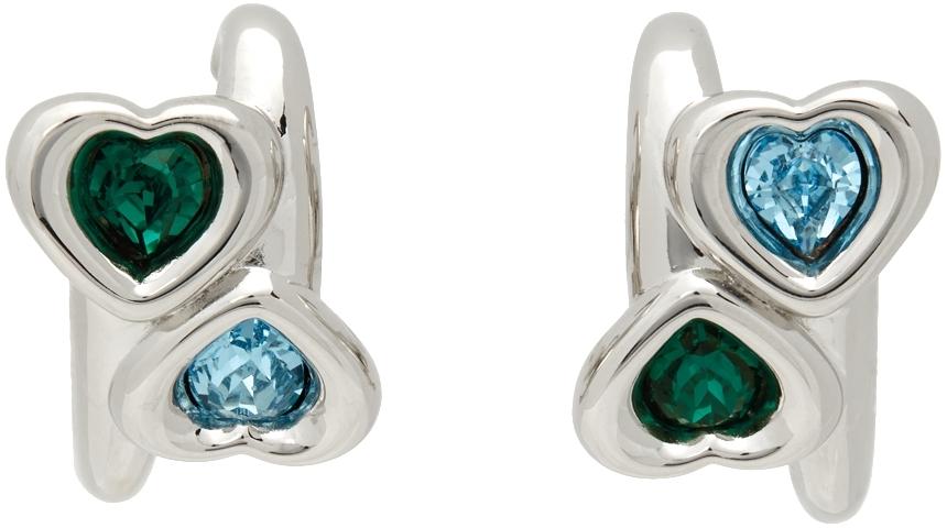 Blue & Green Heart Earrings