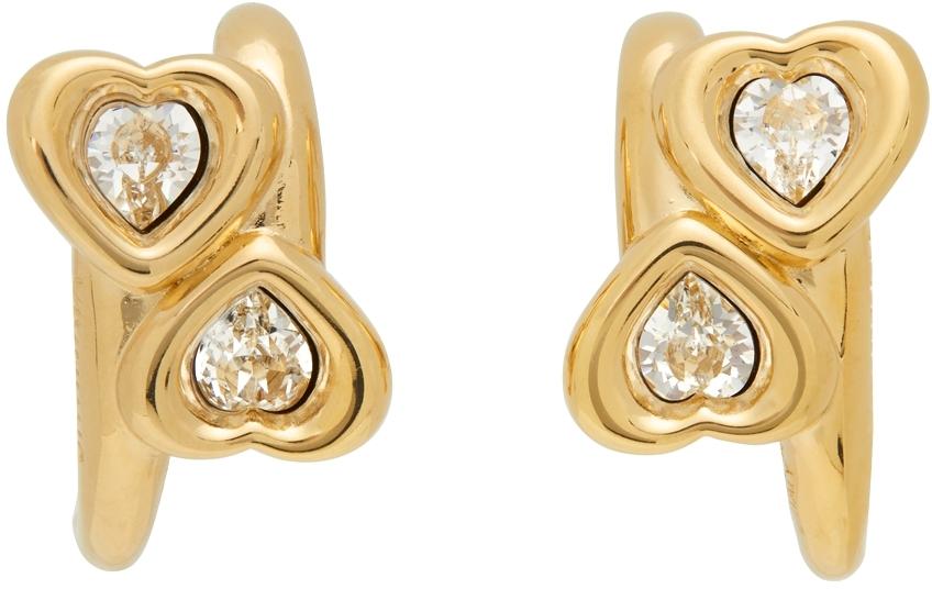 Gold & White Heart Earrings