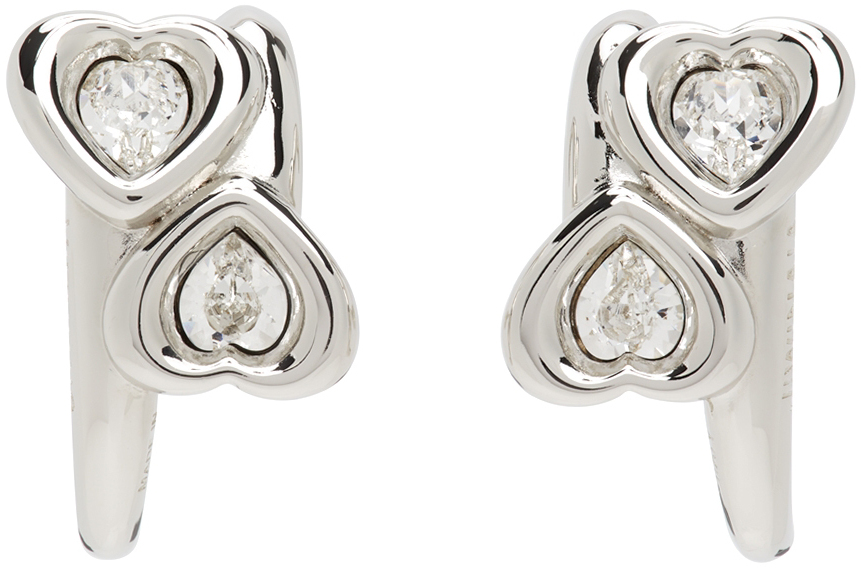 SSENSE Exclusive Silver & White Heart Earrings