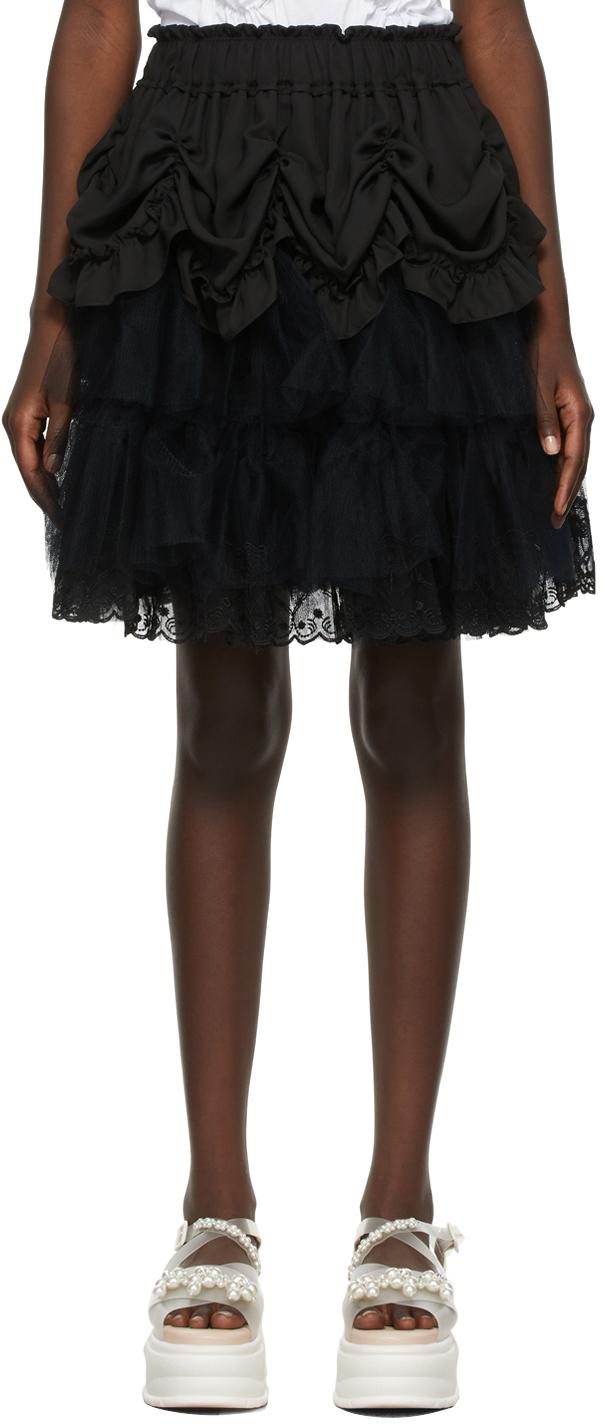 Black Tiered Ruffle Mini Tutu Skirt